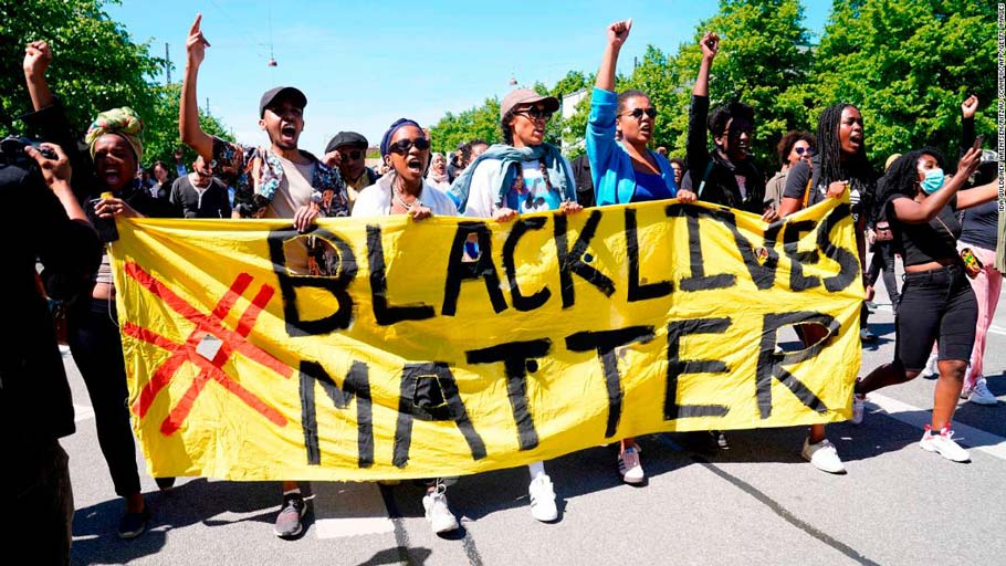 People protest during a Black Lives Matter demonstration in front of the US Embassy in Copenhagen, Denmark, on Sunday, May 31