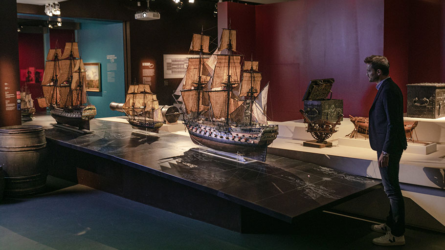 Models of ships displayed at the Museum d'Aquitaine. Many men in Bordeaux made fortunes sending ships to Africa, where they bartered goods for people.
