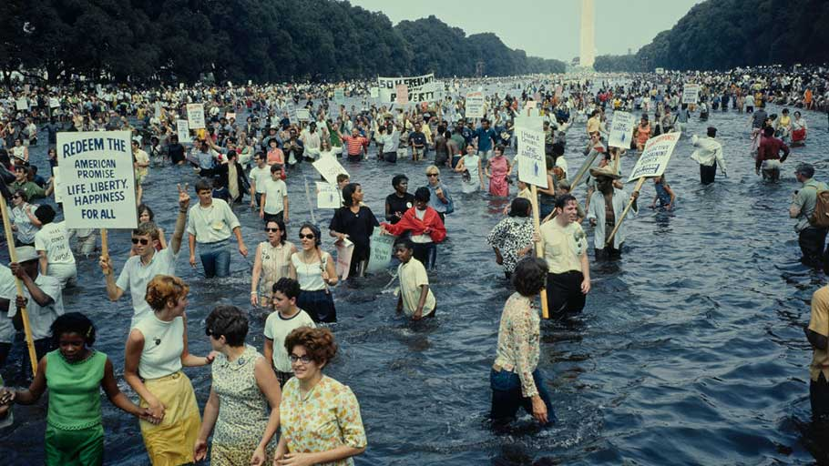 Protestors wading in the Lincoln Memorial reflecting pool in Washington, D.C., during the Poor People's Campaign, or aka the Poor People's March on Washington on June, 19, 1968.