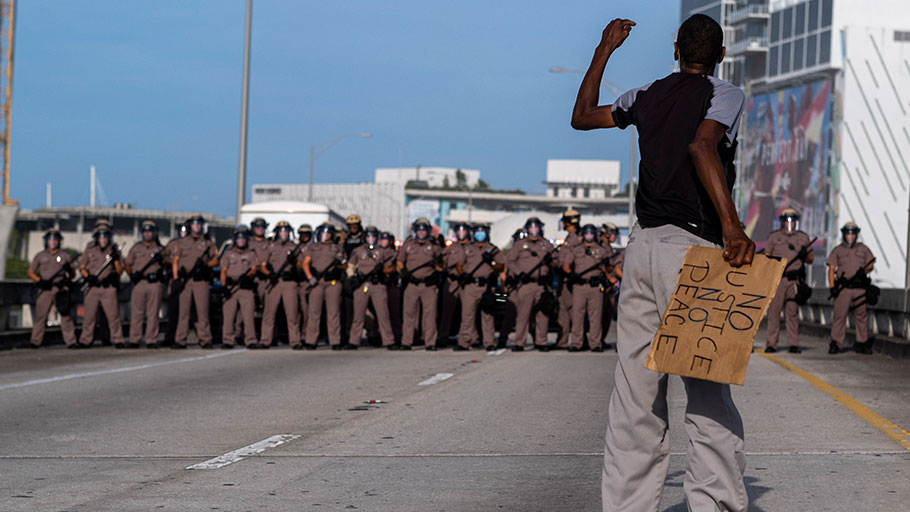 Florida state troopers at a rally in response to the recent death of George Floyd in Miami, Florida on May 31, 2020.