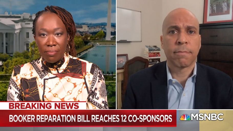 AM Joy, MSNBC — Reparations and Juneteenth holiday bills introduced by Sen. Cory Booker and more are explained to Joy Reid, in addition to the larger need for America to address the aspects of its history that include racial violence.