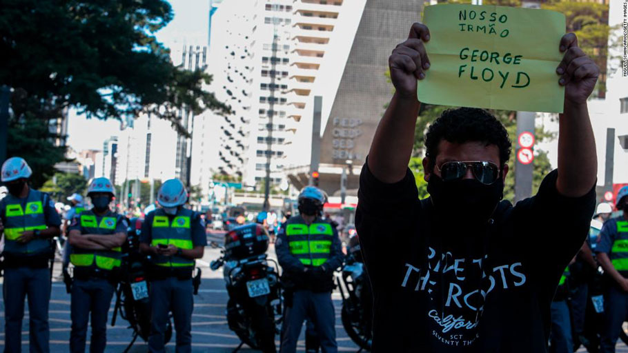 An activist at a rally against Jair Bolsonaro in Sao Paulo.