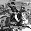 A print of U.S. President Andrew Jackson at the Battle of Tallushatchee, 1813.