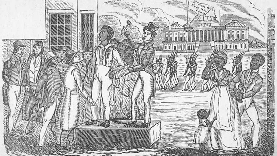 Auctioning slaves in South Carolina.