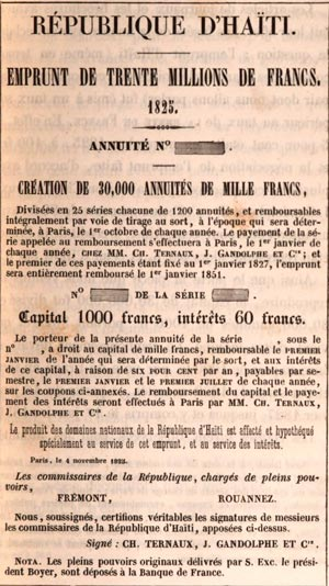 A facsimile of the bank note for the 30 million francs that Haiti borrowed from a French bank.