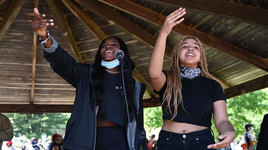 Deante Campbell and Olivia Levine, right, during the Black Lives Matter protest in Sanford on June 6.
