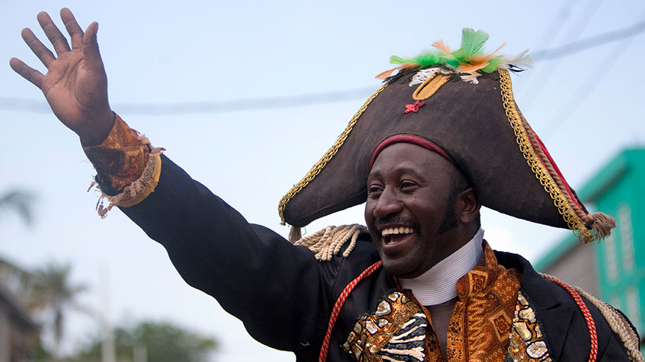 A man dressed as independence hero Jean-Jacques Dessalines in Port-au-Prince,