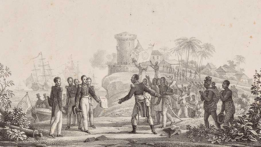 Haitian President Jean-Pierre Boyer receiving Charles X's decree recognizing Haitian independence on July 11, 1825. Bibliotheque Nationale de France