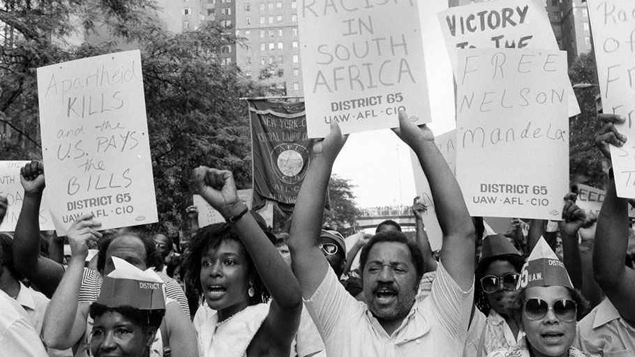 A demonstration against South Africa's racist apartheid system in New York, Aug. 13, 1985
