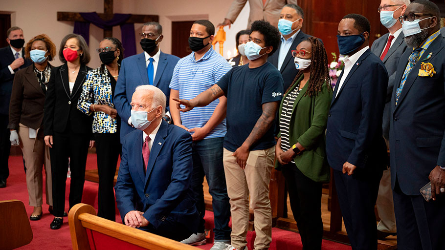 Biden is courting the Black vote – here, he's at the Bethel AME Church in Wilmington, Delaware on June 1, 2020 – but fewer than half of young Black Americans surveyed in battleground states say they will vote for him.