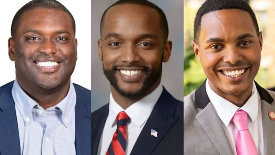 Left to right: New York congressional candidiate Mondaire Jones, Louisiana Senate candidate Adrian Perkins, and New York congressional candidate Ritchie Torres.