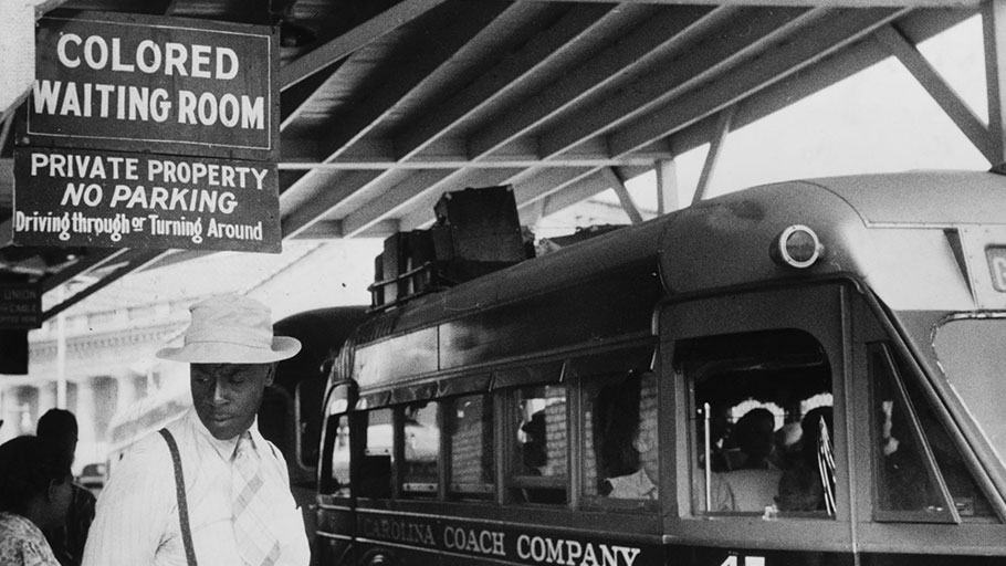 Racial segregation at a bus station in North Carolina in 1940.
