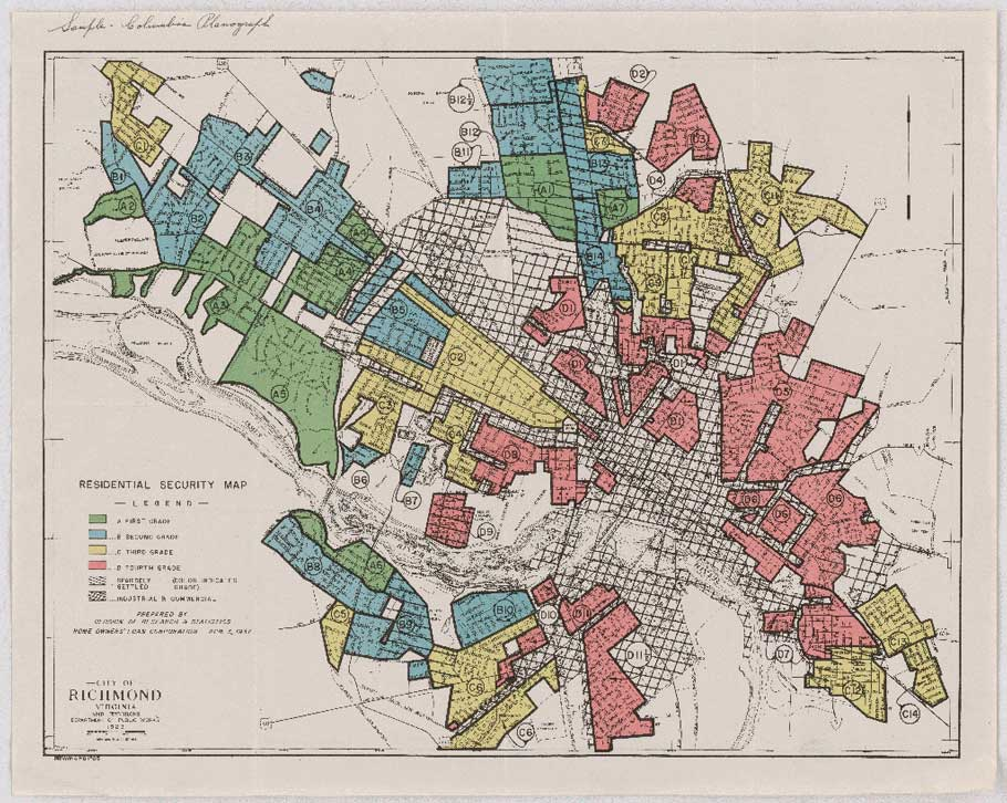 """A """"redlining"""" map of Richmond, Virginia, from 1937"""