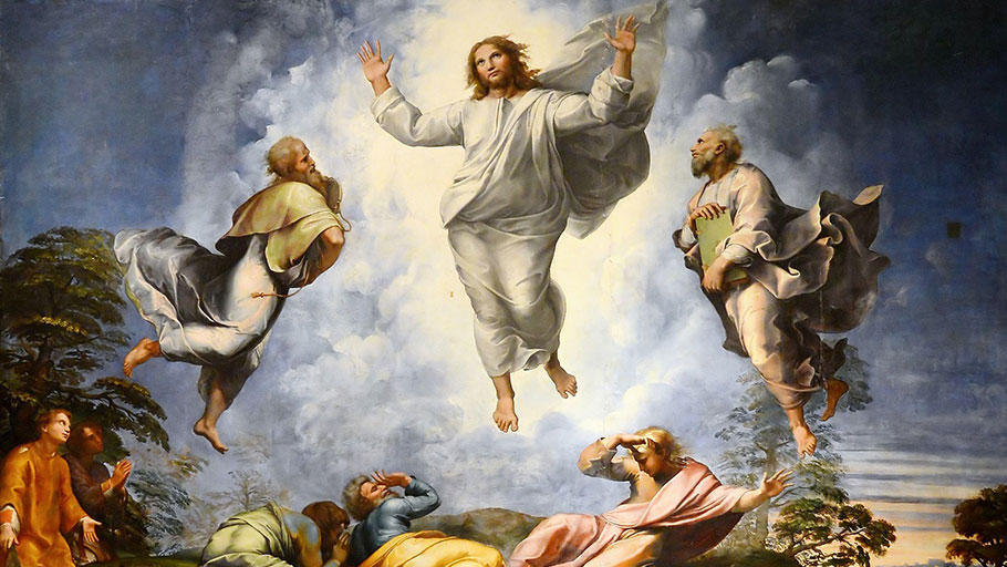 Painting depicting transfiguration of Jesus, a story in the New Testament when Jesus becomes radiant upon a mountain.