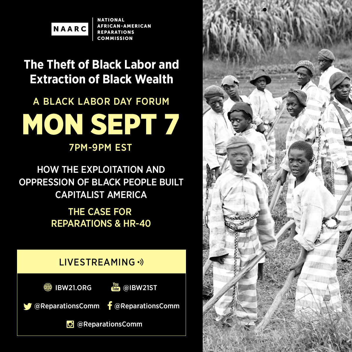 "September 7, 2020 — The Institute of the Black World 21st Century (IBW21) in collaboration with the National African American Reparations Commission (NAARC) present a Black Labor Day Forum ""The Theft of Black Labor and Extraction of Black Wealth: How the Exploitation and Oppression of Black People Built Capitalist America - The Case for Reparations and HR-40""."