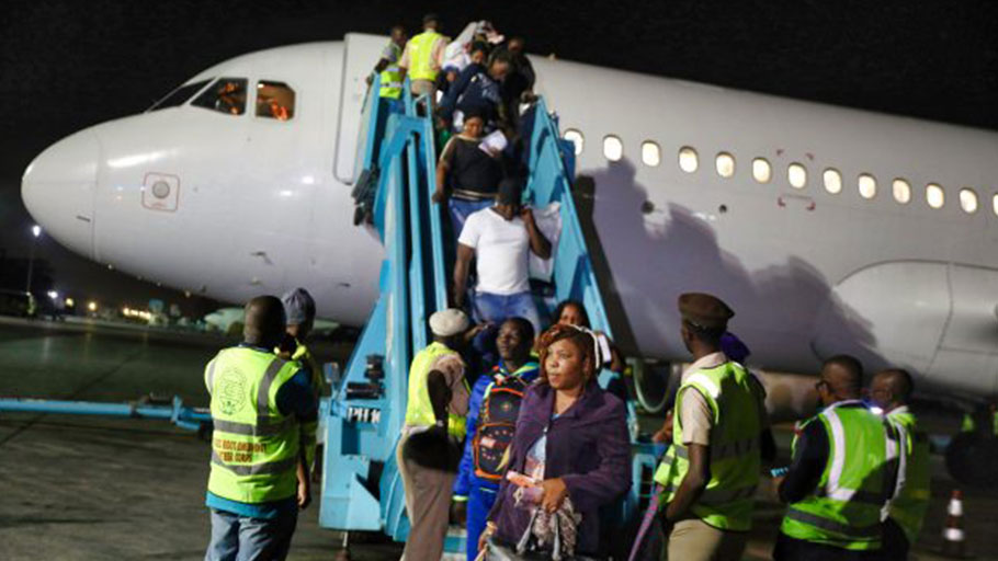 Nigerian migrants arrive in Lagos from Libya. Nigeria has, in the last two years, evacuated thousands of its citizens from Libya and Lebanon after they suffered several forms of abuses, including enslavement. Trafficking has resulted in at least 80,000 Nigerian women being held as sex slaves and forced labour in the Middle East.