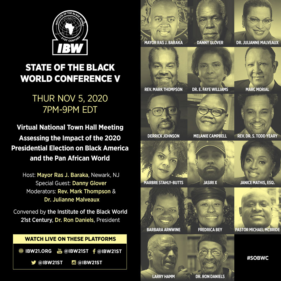 November 5, 2020 — State of the Black World Conference V, Virtual National Town Hall Meeting