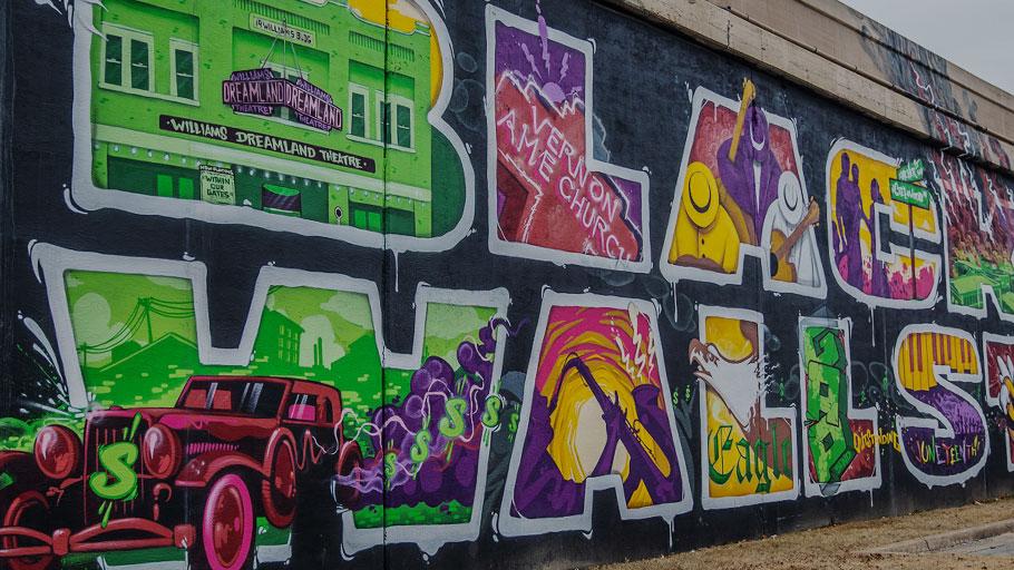 The Black Wall Street mural in Tulsa, Okla.