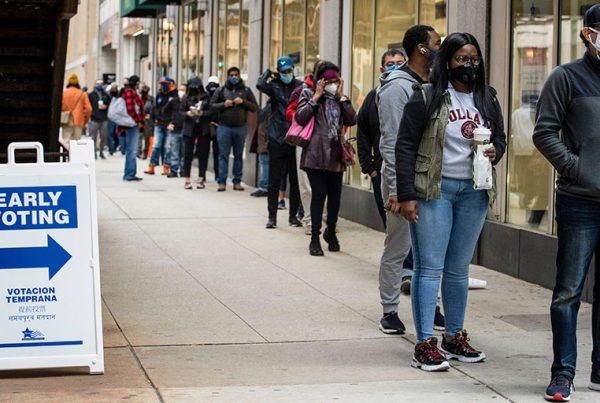 Black voters on line in Chicago, October 2020
