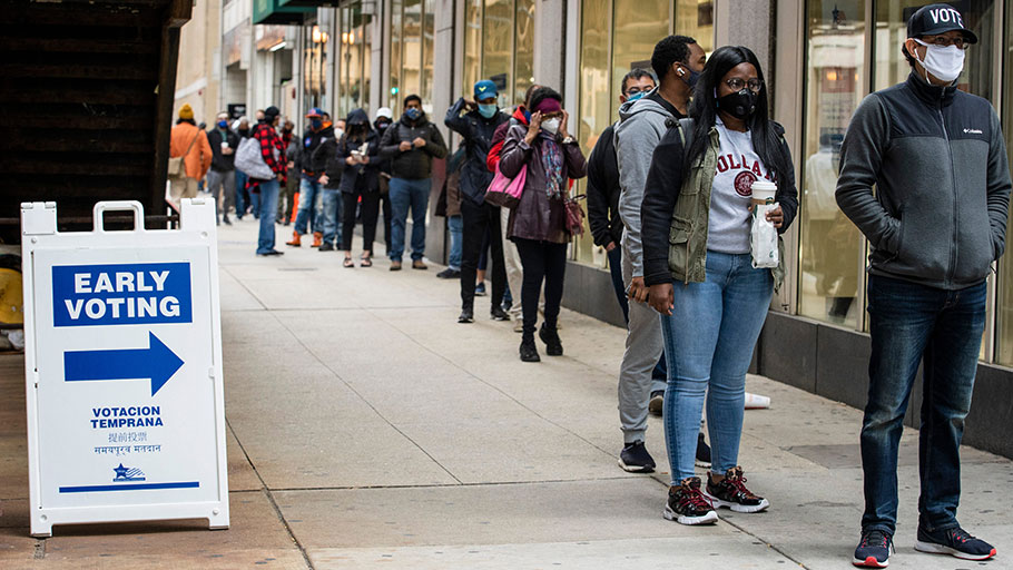 Black voters on line in Chicago, October 2020
