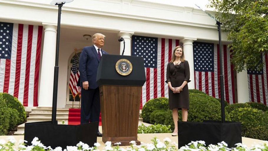 Donald Trump and Amy Coney Barrett at the White House