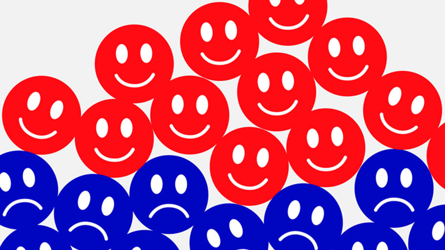 Red Blue Smiley Faces