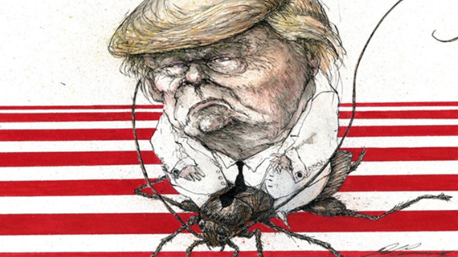 Donald Trump riding a roach