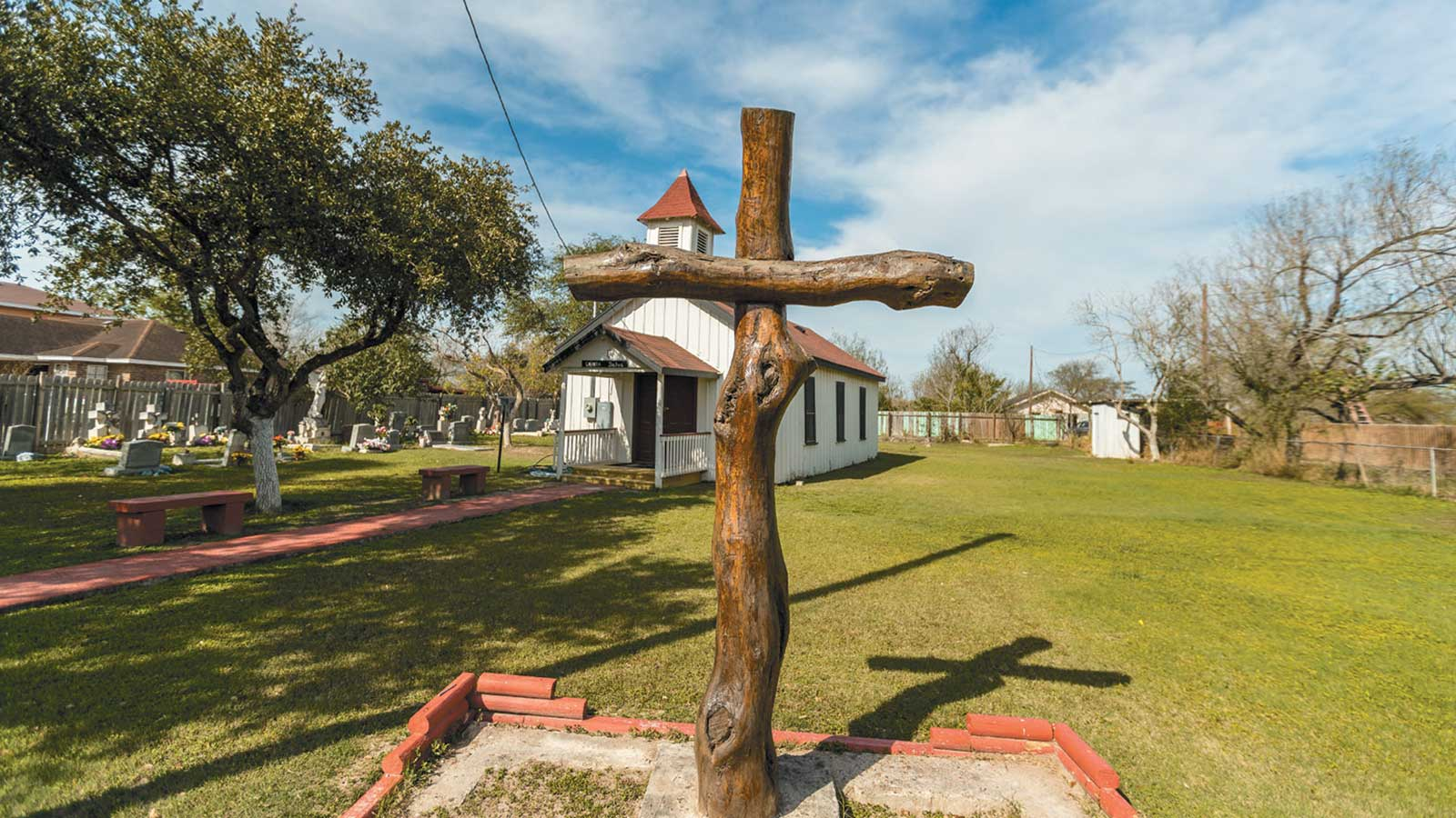 The Eli Jackson Methodist Church and cemetery, located on a ranch once operated by Nathaniel and Matilda Jackson, who are believed to have helped slaves escape to Mexico, San Juan, Texas, 2019
