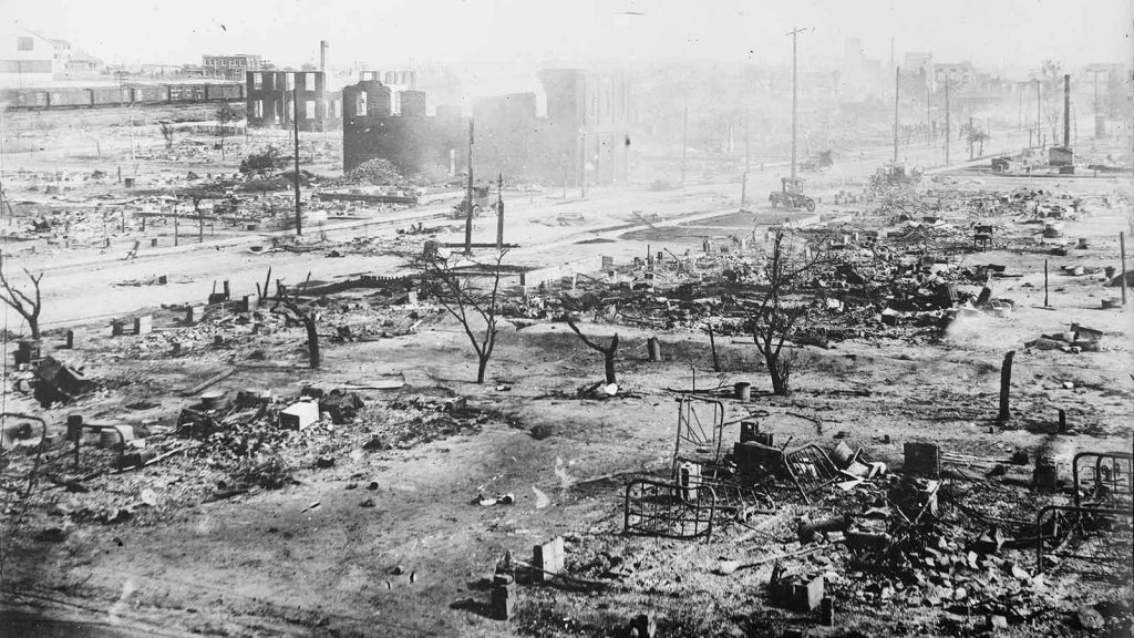 Greenwood in ruins in June 1921 after the Tulsa Race Massacre.