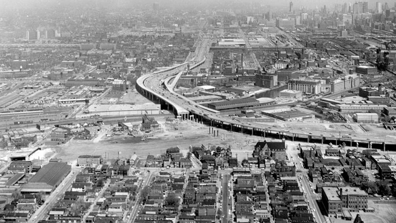 Highway construction in Chicago in the early 1960s