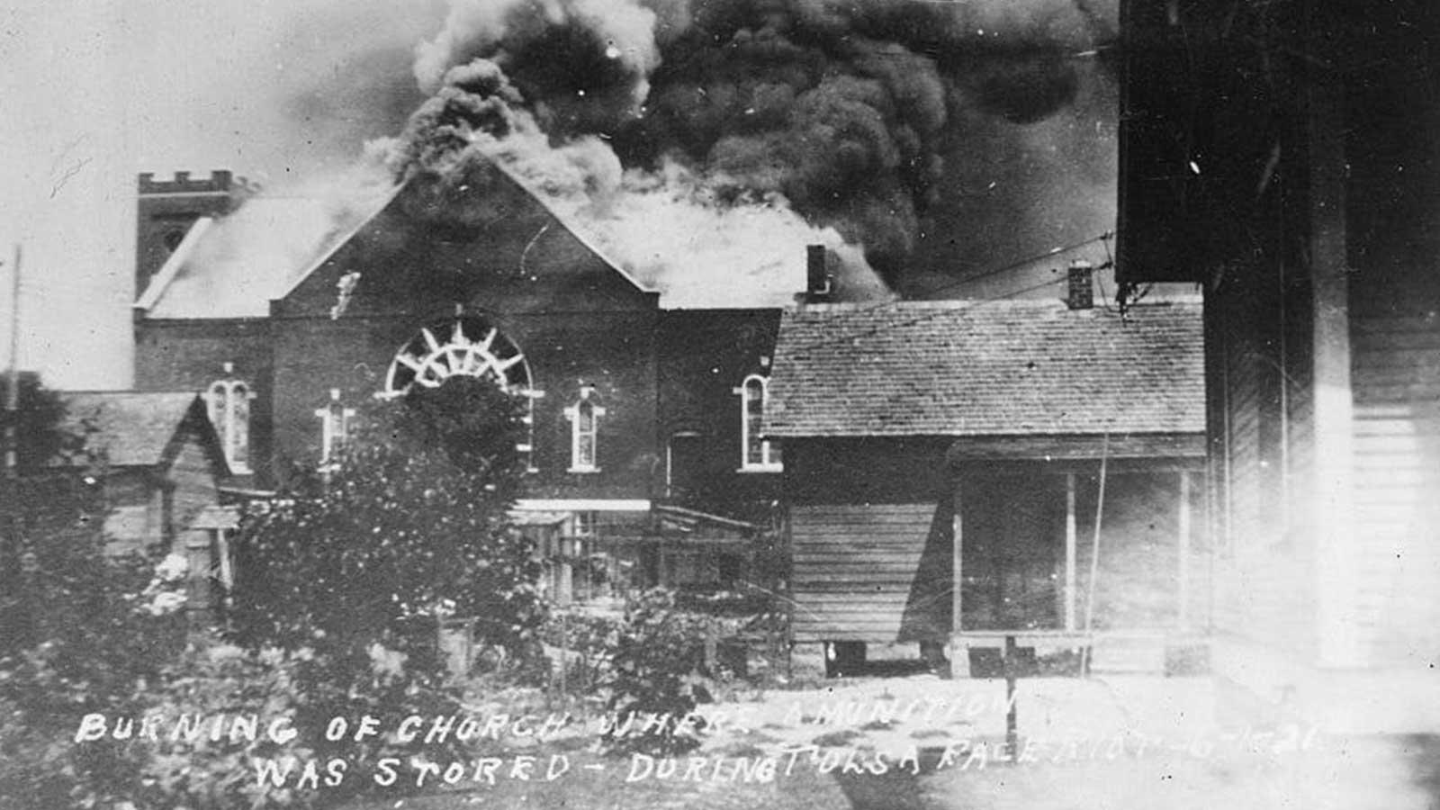 Mount Zion Baptist Church burns during the Tulsa race massacre.