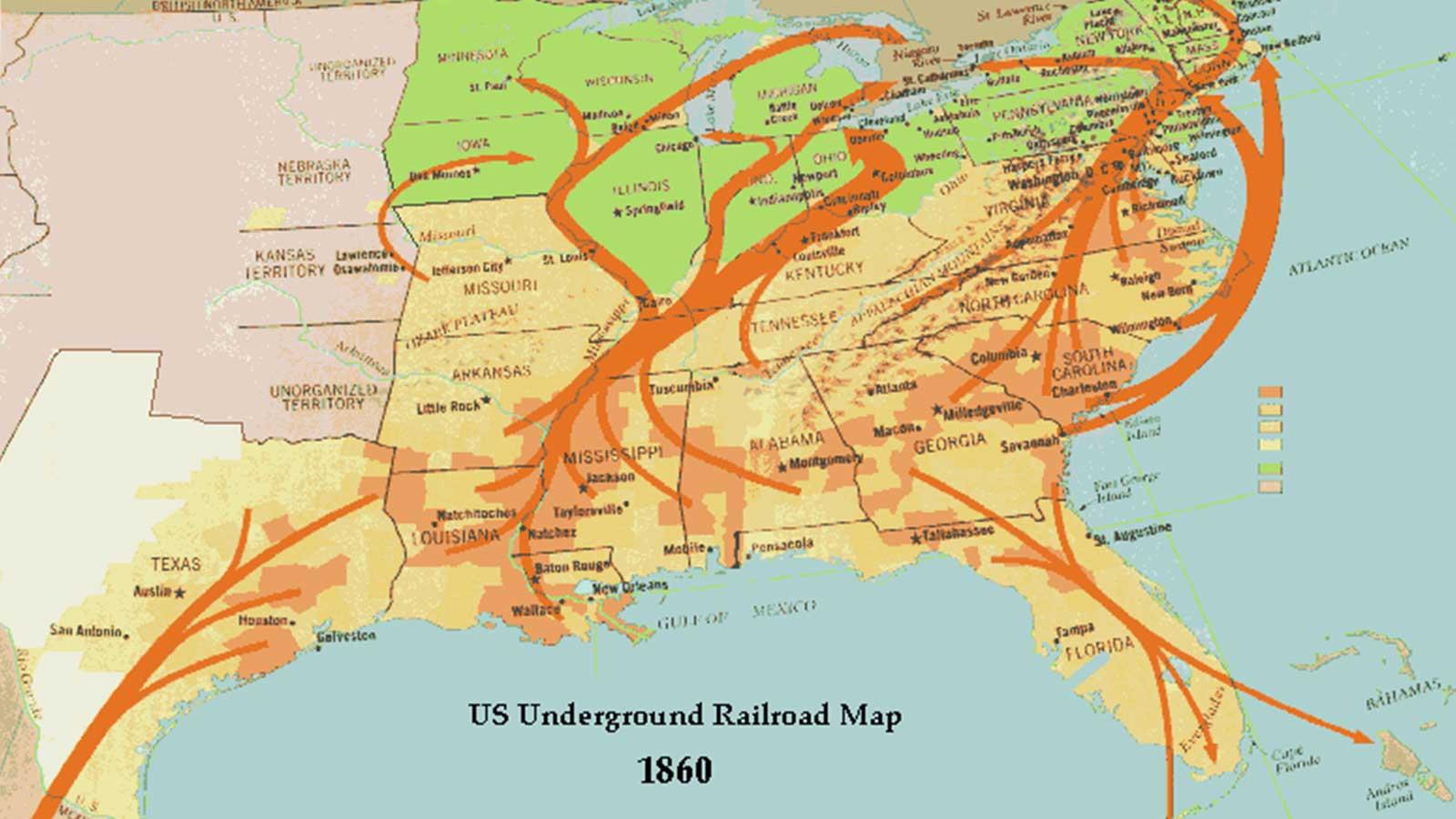 Underground Railroad Map 1860