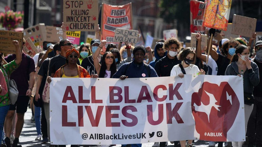 BLM Protesters march through London towards Parliament Square