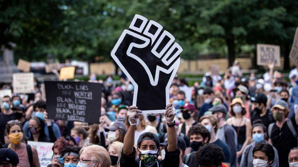 BLM demonstration, black fist signage