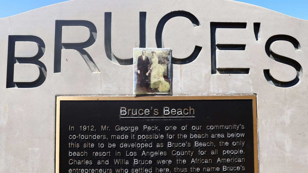 A monument in Manhattan Beach commemorates Charles and Willa Bruce, whose land was taken by the city in a campaign against Black families in the area.
