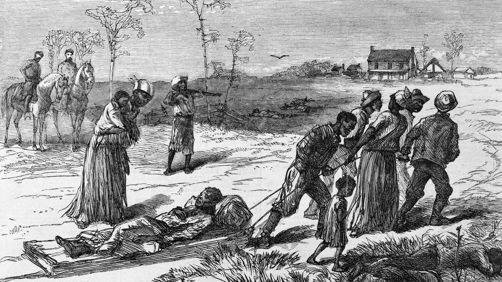 An illustration in Harper's Weekly on May 10, 1873, depicts Black people gathering dead and wounded from the Colfax massacre in Louisiana.