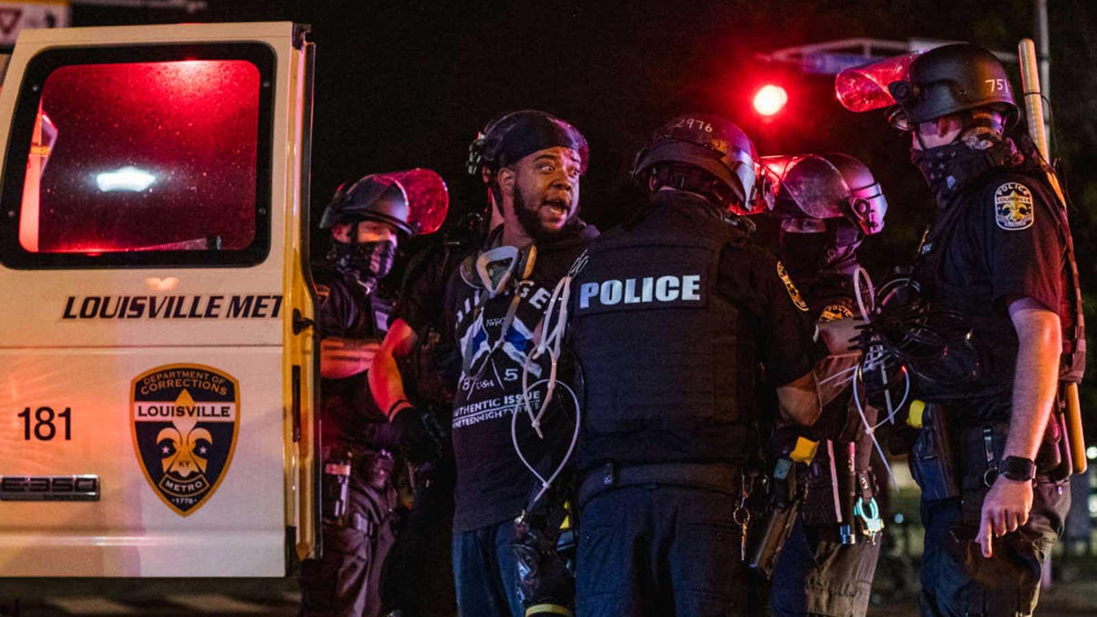 A demonstrator is arrested on September 26, 2020, in Louisville, Kentucky.
