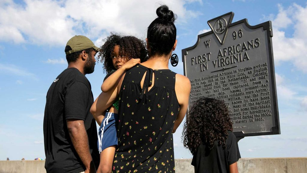 Family visits Virginia marker for first Africans in Virginia.