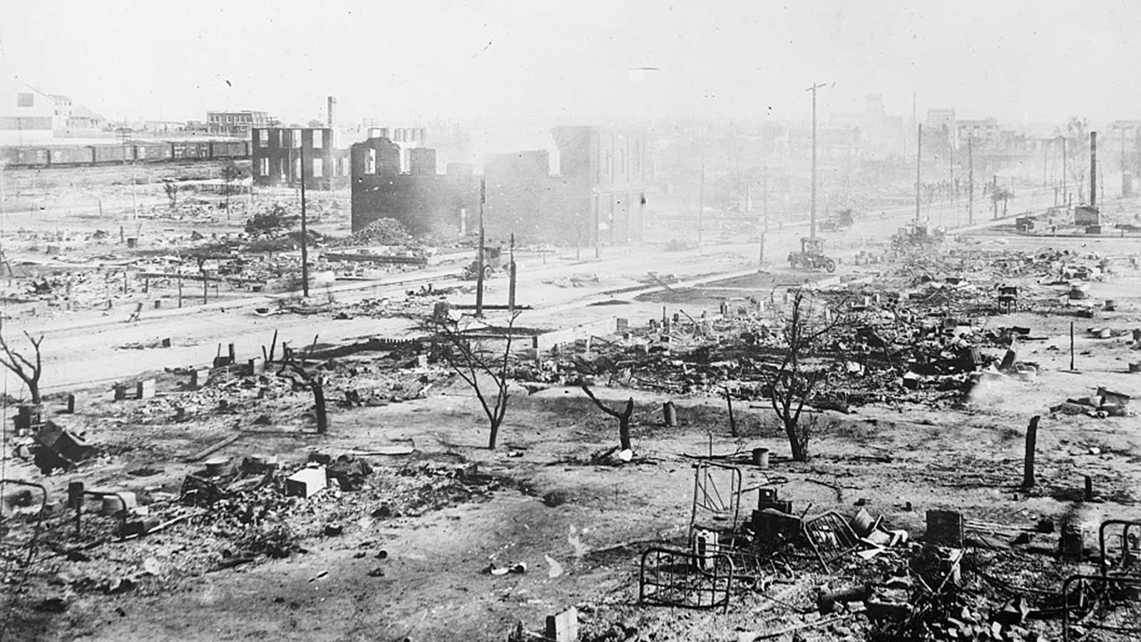 The Greenwood neighborhood is seen in ruins after a mob's rampage during the race massacre in Tulsa, June 1, 1921