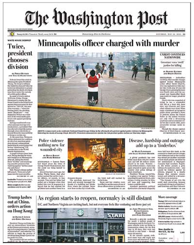 In this image from the May 30 Washington Post, a Black man kneels with his fists raised.