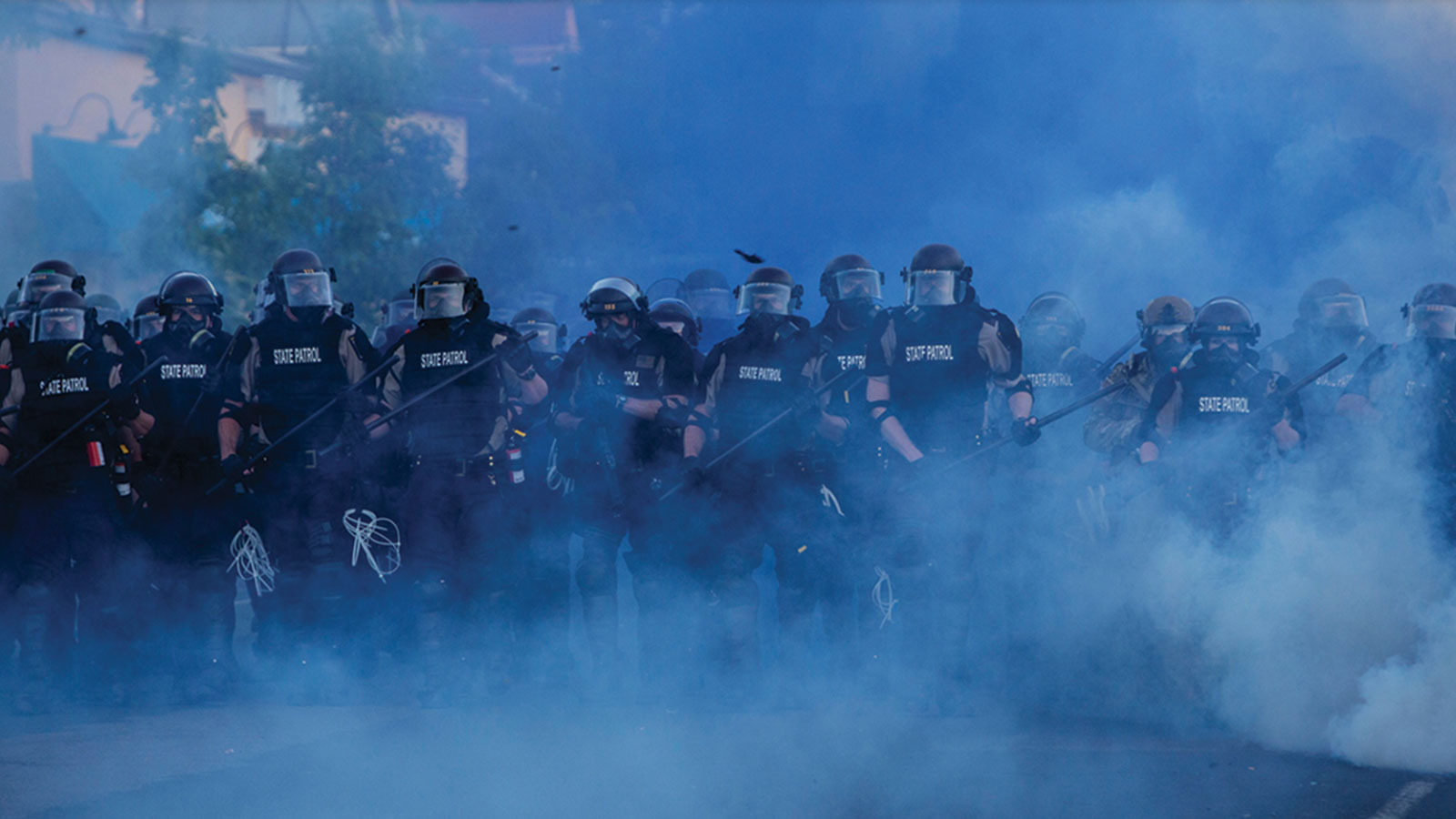 Police in riot gear.