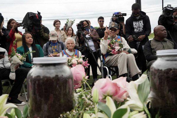 Survivors and siblings Viola Fletcher and Hughes Van Ellis attend the soil dedication at Stone Hill
