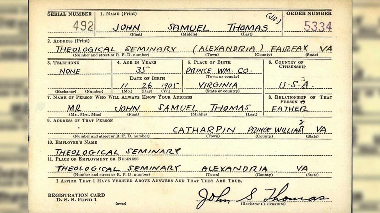 Virginia Theological Seminary: John Samuel Thomas Jr. document