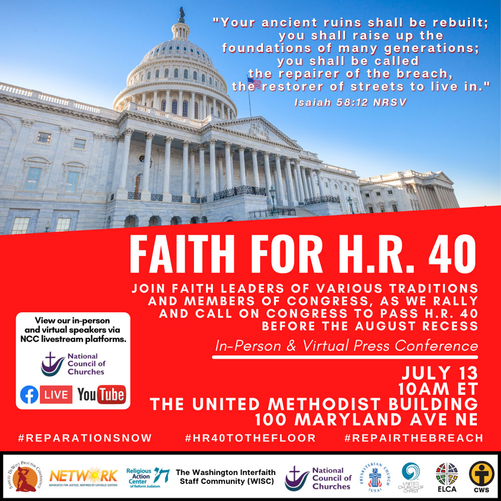Flyer: Join faith leaders from various traditions call on Congress to pass H.R.40