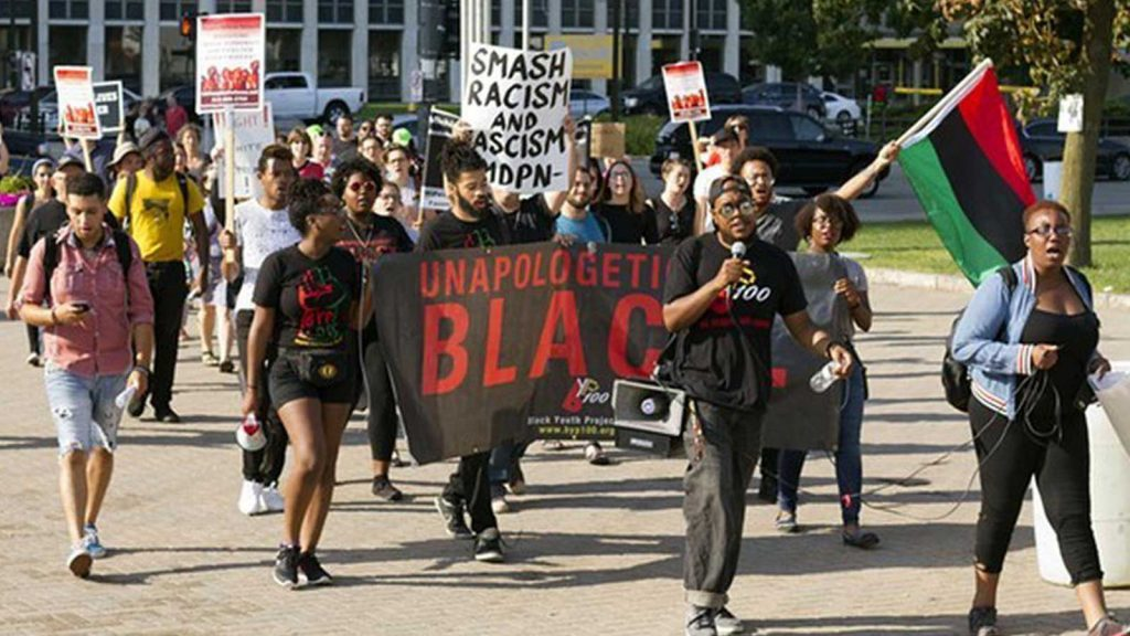 Black Detroiters marching for racial justice.