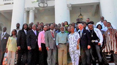 A delegation with the Haiti Support Project met with President Rene Préval Oct. 12 at the end of a 5-day cultural pilgrimage to Haiti.