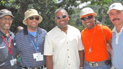 Ron Daniels, Warren Ballentine, Representative Gregory Meeks, Kangol Kid and George Fraser, Black Business advocate.