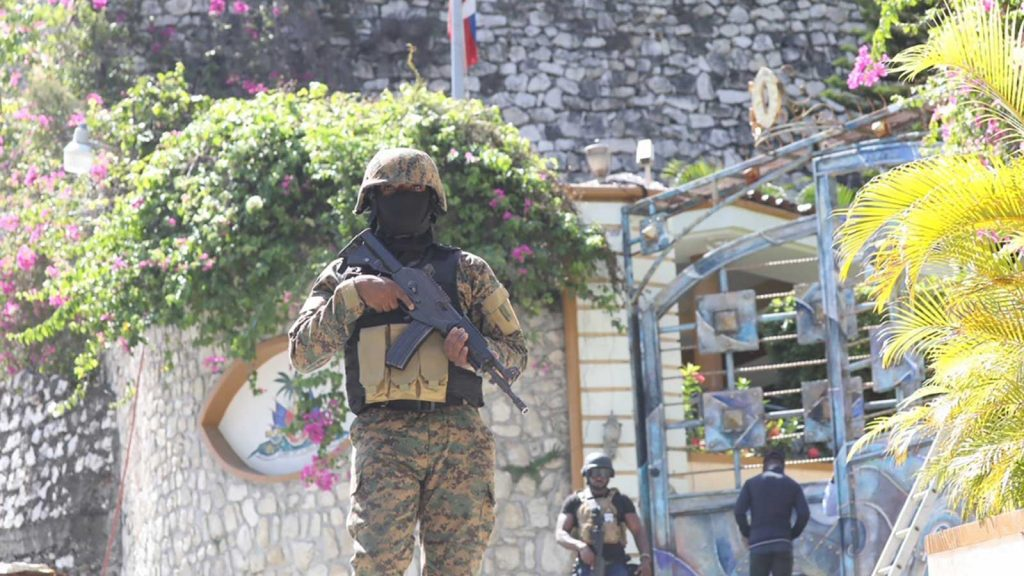 Haitian police patrol outside the presidential residence in Port-au-Prince on July 7, 2021, after President Jovenel Moïse was assassinated