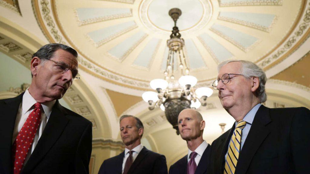 Sen. John Barrasso, Senate Minority Whip Sen. John Thune, Sen. Rick Scott and Senate Minority Leader Sen. Mitch McConnell