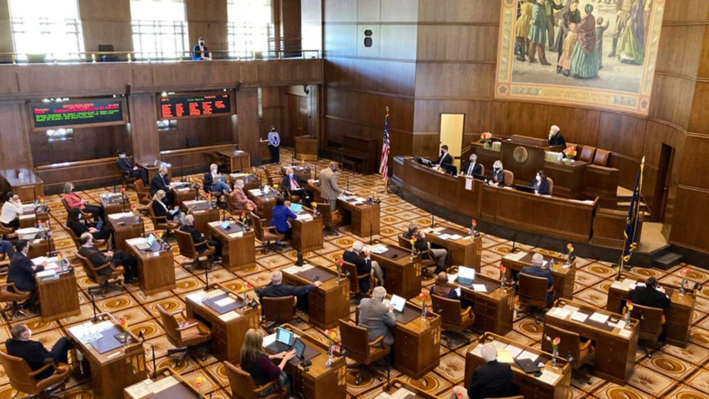 Members of the Oregon Senate discuss a resolution on April 15, 2021
